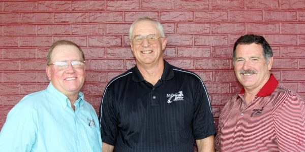 Members of McDonough Power Cooperative re-elected three area men to the organization's board of directors. The re-elected directors from left are: Walt Lewis of Blandinsville, Steve Hall of Roseville and Mike Cox of Macomb.